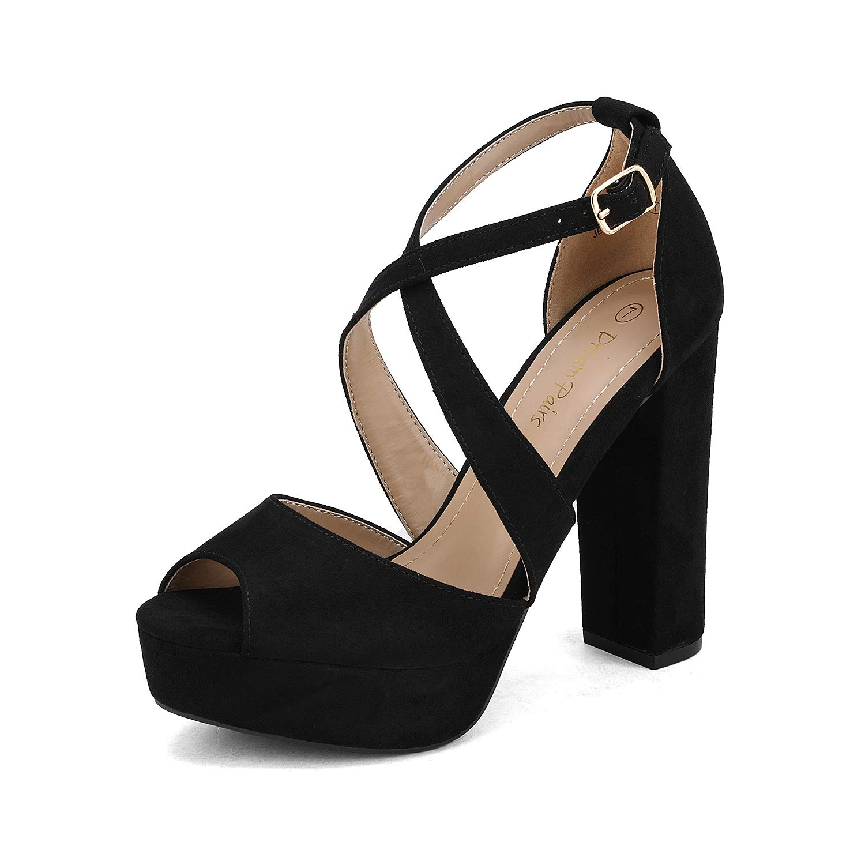 DREAM PAIRS Women's Black Suede Ankle Strap Platform High Chunky Heel Sandals Peep Toe Dress Pump Size 7.5 M US Jessica-01