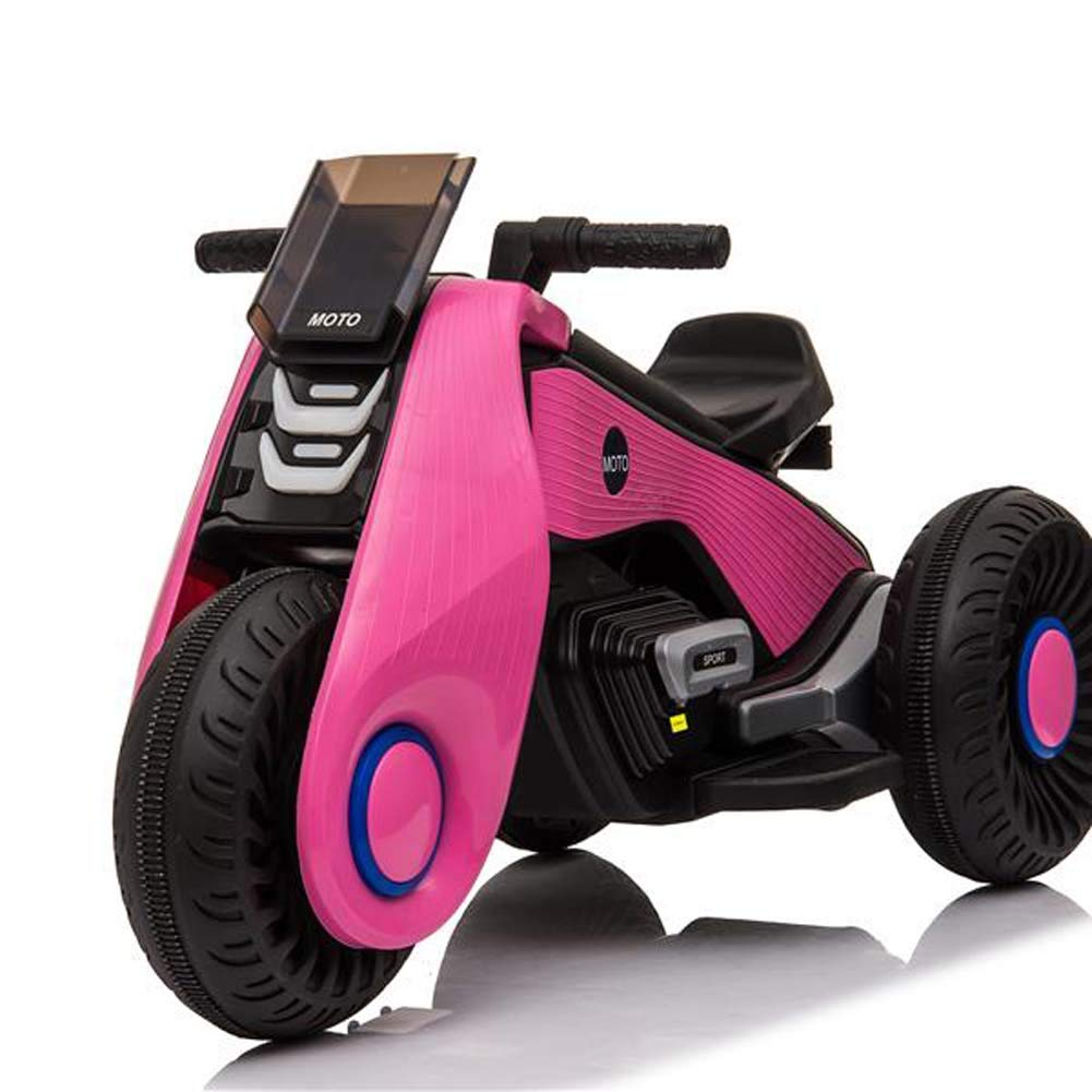 Lovinland Childern Electric Motorcycle,Motorcross Bike 3 Wheels Electric Ride On Toy Double Drive 6V Battery Powered for Kids Toddlers (Pink)