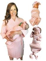 Maternity 4-Piece Labor Delivery Matching Robe, Knotted Gown, and Swaddle Set (Robe, Baby Gown, Blanket, Headband or Hat)