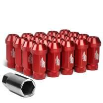 J2 Engineering 20Pcs M12 x 1.25 7075-T6 Aluminum 50mm Open-End Lug Nut w/Socket Adapter (Red)