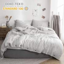 Simple&Opulence 100% Linen Duvet Cover Set Coconut Buttons Stone Washed 3pcs Bedding Set (King, Grey)