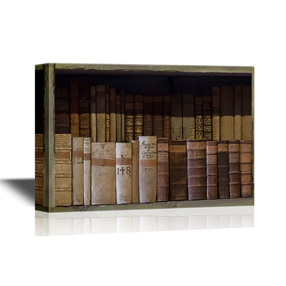 wall26 - Canvas Wall Art - Artwork with Bookshelf and Vintage Books - Gallery Wrap Modern Home Decor | Ready to Hang - 32x48 inches