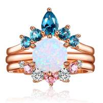 JIANGYUE 3 Piece Ring Set for Women Rose Gold Plated White Opal Ring Embellished with Two Cubic Zirconia Crown Round Cut Engagement Wedding Promise Bands Valentine Bridal Gift Size 5-10