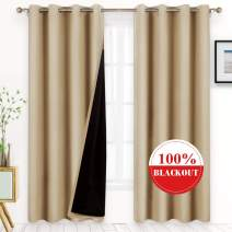 BYSURE 100% Beige Blackout Curtains 96 inches Long, for Bedroom 52x96 inches Soft Thermal Insulated Lined Drapes with Backing, Energy Saving Window Draperies (Beige, 2 Panels)