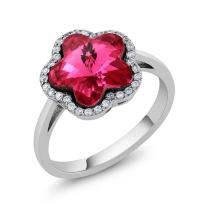 Sterling Silver Pink Flower Women's Ring Made with Swarovski Crystals