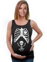 Halloween Maternity Tank Tops Baby Skeleton X-Ray Cute Pregnancy Bump Shirts