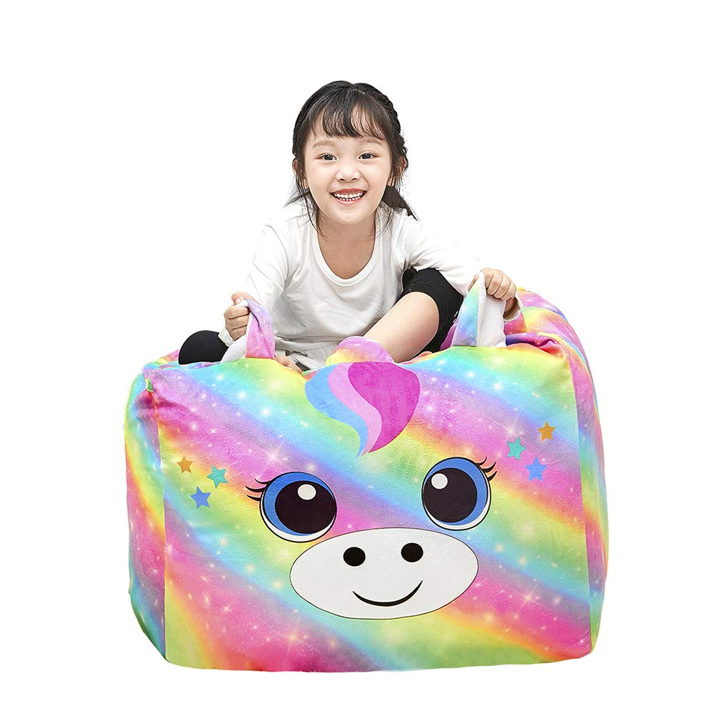 Play Tailor Unicorn Stuffed Animal Storage Bean Bag Chair Cover 24x24 Inch Large Super Soft Warm Fleece Unicorn Beanbag Cover, Rainbow