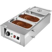 Happybuy 1000W Electric Chocolate Melting Pot Machine, 3 Tanks Commercial Electric Chocolate Heater,26.45LBS Capacity Thermal Insulation Heating Machine,for Chocolate Cheese Soup,32-176℉