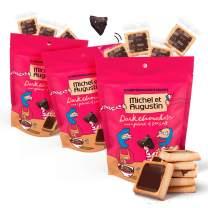 Michel et Augustin Chocolate French Cookie Squares | 3 Pack | Dark Chocolate Sea Salt | 15 Shortbread Cookie Squares Per Bag