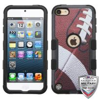 Microseven iPod Touch 7th 6th 5th Generation Case Shockproof Hybrid Hard Silicone Shell Impact Cover with Screen Protector for iPod Touch 7 (2019), iPod Touch 5/6 (2015), Ball Sports Football Tuff