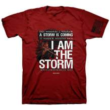 Hold Fast Men's I Am The Storm Psalm 56:4 Independence T-Shirt - Red -