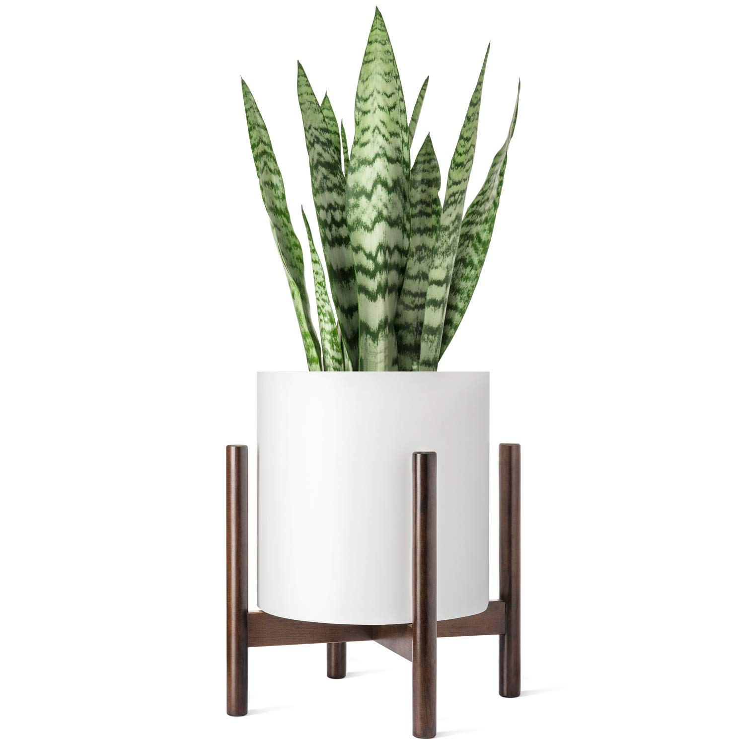 Mkono Plant Stand Mid Century Wood Flower Pot Holder Indoor (Pot NOT Included) Potted Rack Modern Home Decor, Up to 12 Inch Planter, Dark Brown