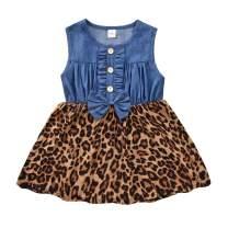 MINIFEIKO Little Baby Girl Leopard/Sunflower Print Denim Dress Toddler Girl Spring and Summer Outfits