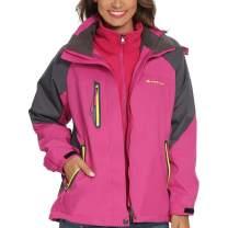ALPINE PRO Women 3 in 1 Ski Jacket, Waterproof Winter Interchange Coat with Warm Inner Fleece and Windproof Hood, Pink
