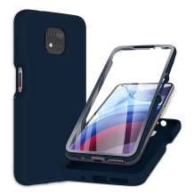 PULEN for Motorola Moto G Power (2021) Case with Built-in Screen Protector,Rugged PC Front Cover + Soft Liquid Silicone Non-Slip Back Cover, Shockproof Full-Body Protective Case Cover - Blue