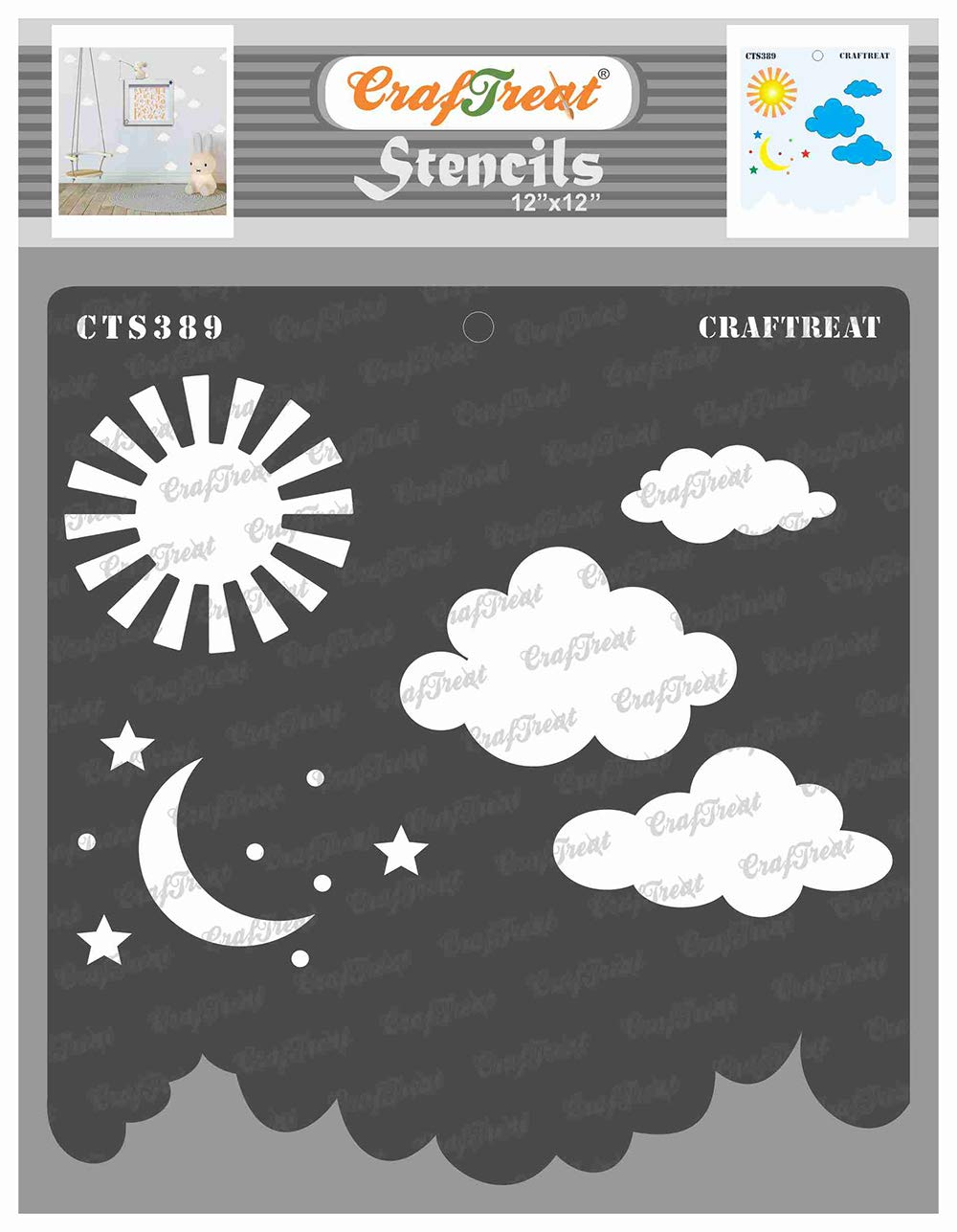 CrafTreat Moon and Star Stencils for Painting on Wood, Canvas, Paper, Fabric, Floor, Wall and Tile - Clouds and Stars Stencil - 12x12 Inches - Reusable DIY Art and Craft Stencils - Cloud Wall Stencil