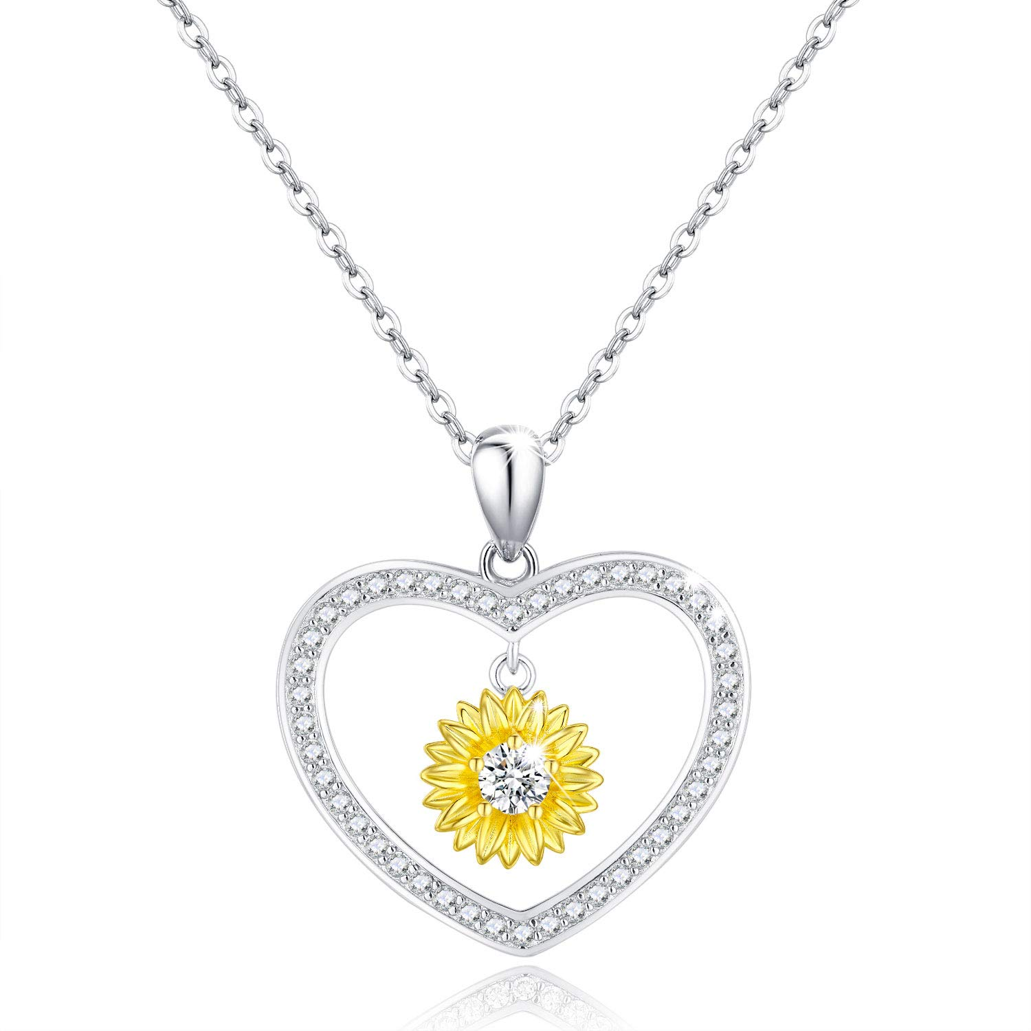PRAYMOS Sunflower Necklace 18k Gold Plated 925 Sterling Silver CZ Pendant Necklace You are My Sunshine