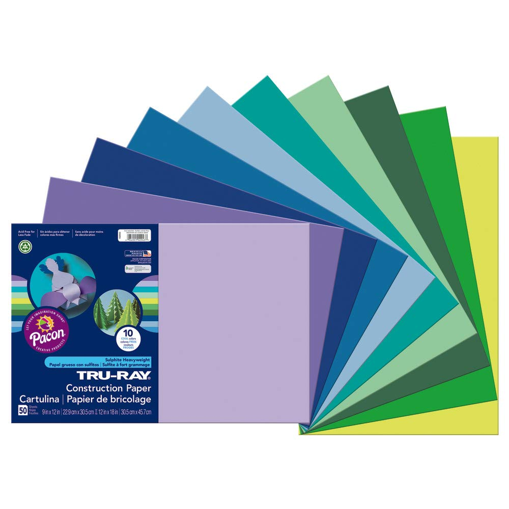 """Tru-Ray Heavyweight Construction Paper, Cool Assorted Colors,  12"""" x 18"""", 50 Sheets"""