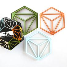 Hexa Drink Coaster Set By TiiL. Set of 6 Modern Coasters for Drinks Plus Gift Box (Prism)