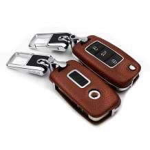 ontto Keyless Key Cover Case with Keychain Premium Leather ABS Plastic Key Fob Protector Skin Holder Fit for VW Volkswagen Jetta GTI Passat Golf 3 Buttons Brown