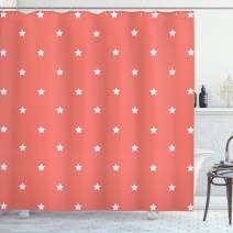 """Ambesonne Coral Shower Curtain, Minimalist Neat Star on Empty Outer Space Elements Themed Greeting Design Image, Cloth Fabric Bathroom Decor Set with Hooks, 70"""" Long, Coral White"""