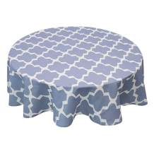 Allenjoy Round 120 Inch Diameter Tablecloth 100% Polyester Waterproof and Spill-Proof Washable Geometric Quatrefoil Table Cloth for Holiday Party, Dinner, Buffets, Picnic Decoration, Light Blue-Grey