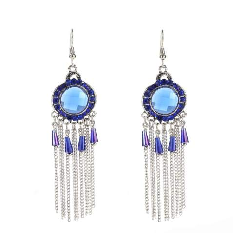 Old-Times Vintage Boho Drop Dangle Earrings for Women Girls Ethnic Indian Traditional Alloy Tassel Earrings Fashion Jewelry for Wedding Party