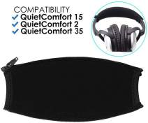 QC15 QC35 QC2 Headband Cover Replacement for Bose QuietComfort QC 35 QC 15 QC 2 Headphones Headband Protector with Zippe Replacement Headband Cushion Pad Repair Parts/Easy DIY (Black + No Tool Needed)