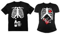Halloween Matching Couples Shirts Hero Skeleton Maternity Xray Beer Men Tee Set