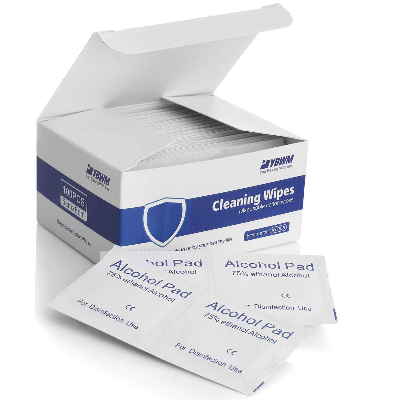 YBWM Disposable Individually Wrapped 75% A~lcohol C~Leaning Wipes for House and Office Public Health 2.4x2.4inch 100pcs