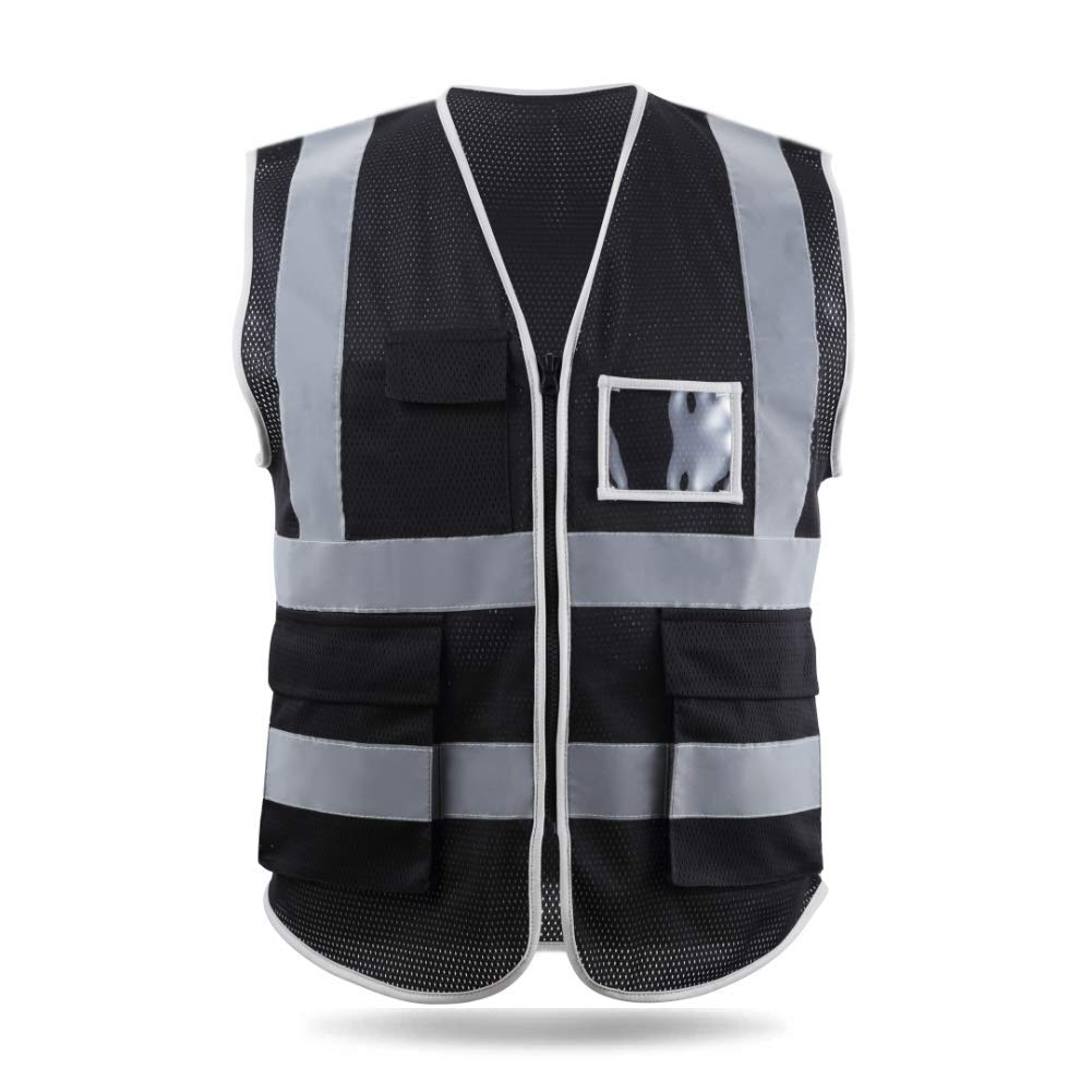 HYCOPROT High Visibility Mesh Safety Reflective Vest with Pockets and Zipper, Meets ANSI/ISEA Standards (X-Large, Black)