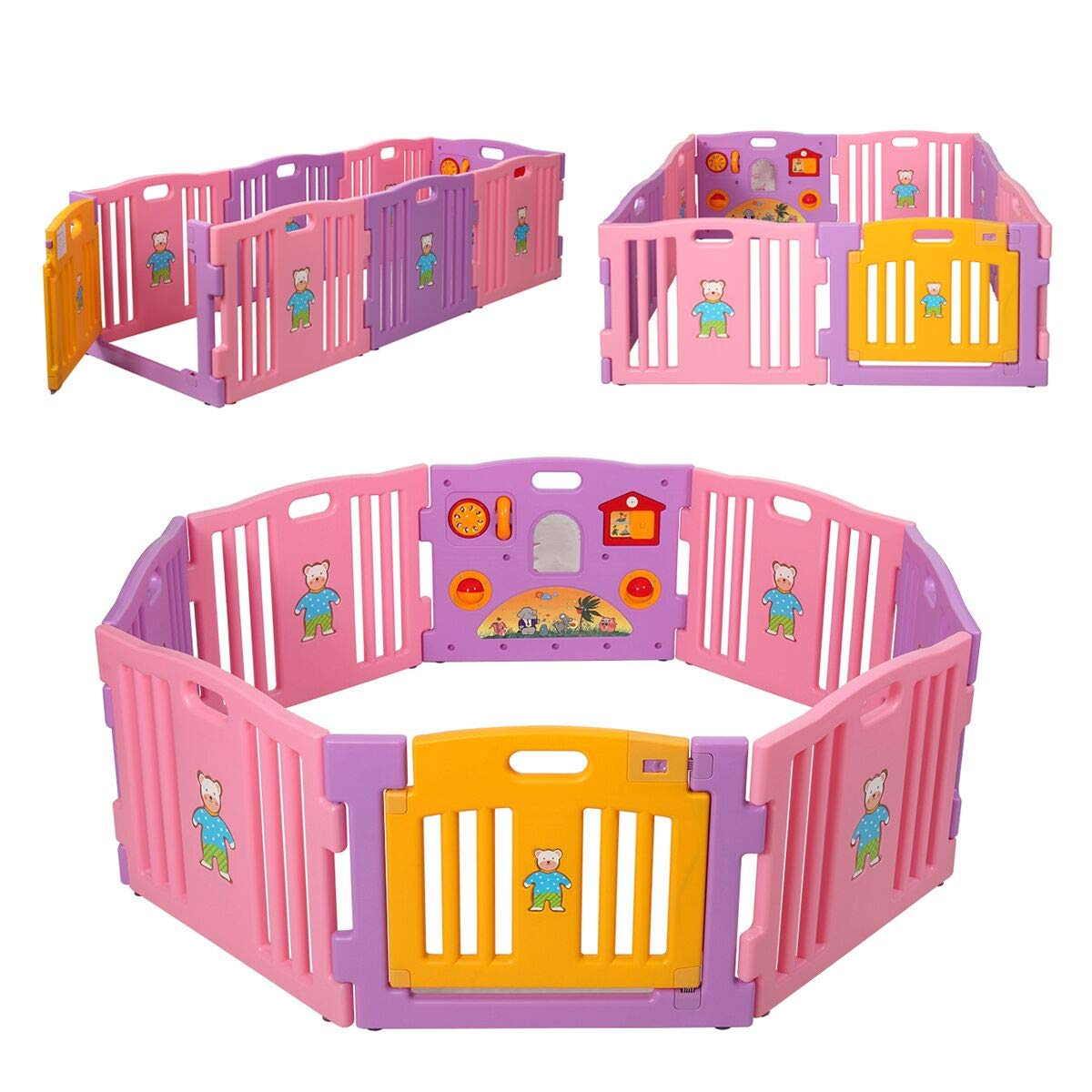 JAXPETY Baby Playpen Kids 8 Panel Safety Play Center Yard Home Indoor Outdoor New Pen (Pink)