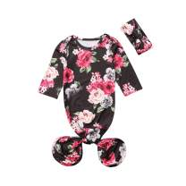 Mubineo Infant Newborn Baby Floral Sleeping Bag Swaddle Blanket with Headband Outfits (Black, 0-6 Months)