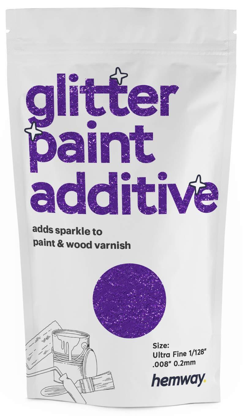 "Hemway Glitter Paint Additive Ultrafine 1/128"" .008"" 0.2MM Emulsion/Acrylic Water Based Paints Wall Ceiling 100g / 3.5oz (Purple)"