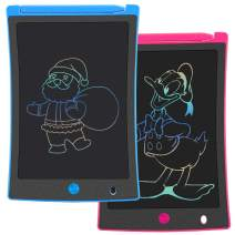 KURATU 2 Pack LCD Writing Tablets 8.5 inch Colorful Drawing Pads for Kids Erasable E-Writer, Elder Message Board, Digital Handwriting Tablet for Class, Fridge or Office (Pink & Blue)