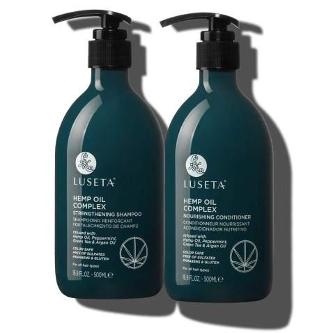 Luseta Hemp Oil Complex Shampoo & Conditioner Set, Argan Oil, Hair Loss/Repair, Thickens & Enriches Thinning Hair for Men & Women Parabans & Sulfate Free for All Hair Types 2 x 16.9oz