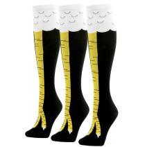 Funny Gift Socks, 1/2/3/4/5/6 Pairs Gmark Women's Crazy Chicken Cluck Legs Knee High Gift Socks Size M/L