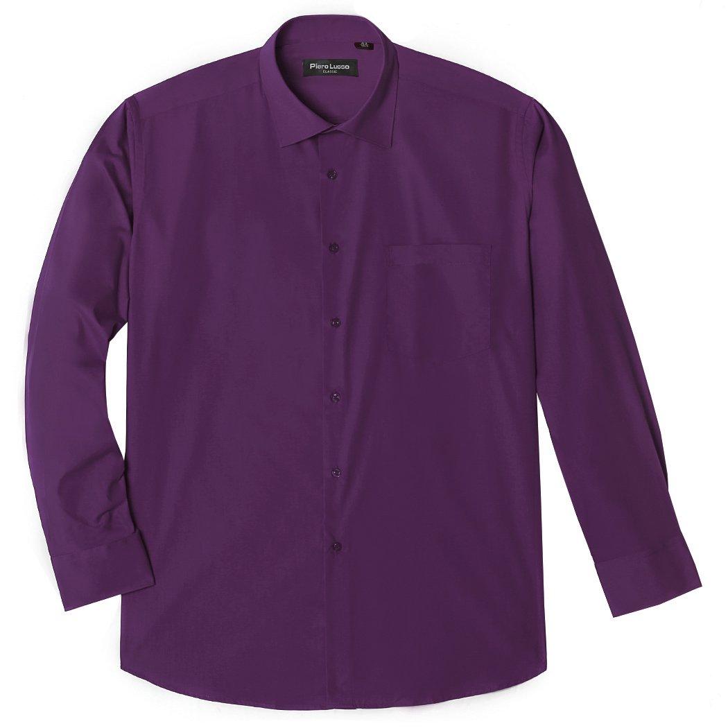 Men's Oxford Long Sleeve Button Down Casual Dress Shirt (X-Large, 80cotton/20polyester-dark Purple)