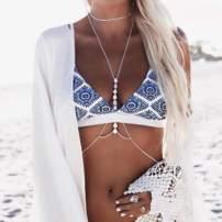 Brishow Boho Rhinestone Body Chain Waist Chains Summer Beach Bikini Bra Body Jewelry Accessory for Women and Girls (Gold)