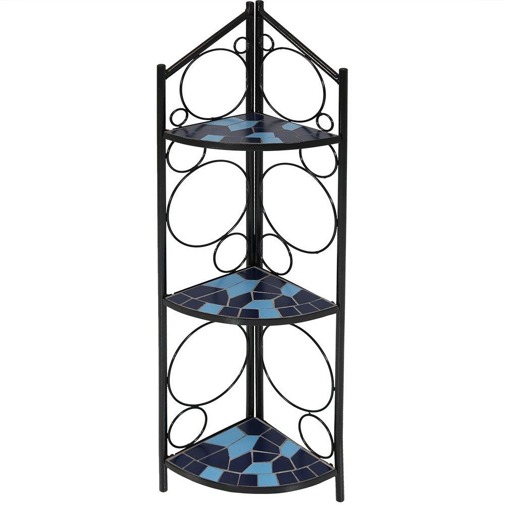 Sunnydaze 3-Tier Folding Mosaic Plant Stand, Indoor/Outdoor Metal Corner Flower Pot Shelf, 44 Inch Tall, Blue