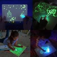 Jeteven Kid Light Drawing Pad Luminescent Board Glow in Dark Painting Developing Educational Toy (A4)