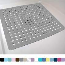 Gorilla Grip Original Patented Bath, Shower, and Tub Mat, 21x21, Machine Washable, Antibacterial, BPA, Latex, Phthalate Free, Square Bathroom Mats with Drain Holes, Suction Cups, Gray Opaque