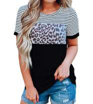 Women's Animal Print Tops Leopard Stripe Short Sleeve Color Block Casual Shirts