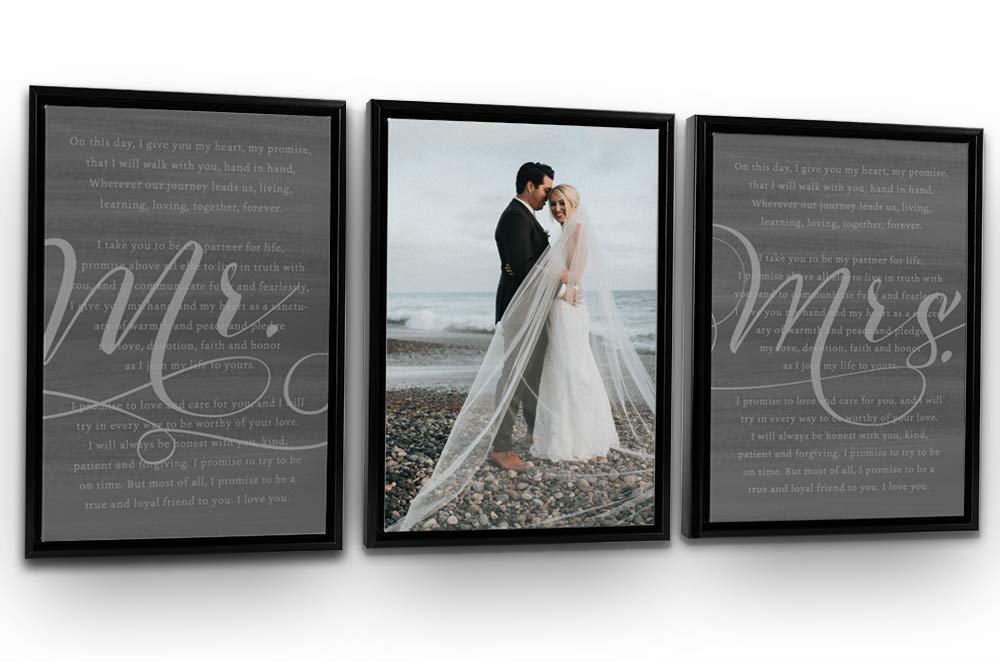 Pretty Perfect Studio His Hers Wedding Vows 3 Panel Custom Wall Art Set   Personalized Wedding Vows on Canvas   18x24 Black Framed Ready-to-Hang Canvas