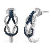 925 Sterling Silver Platinum Plated Round Blue Diamond J-Hoops, Hoop Earrings for Women Mothers Day Gifts Gift