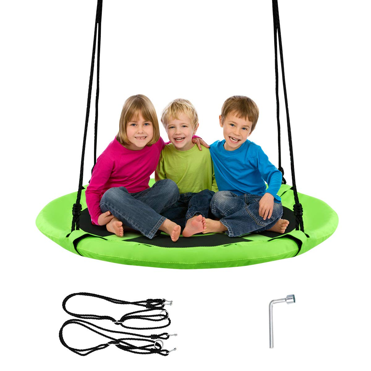 """Costzon 40"""" Waterproof Saucer Tree Swing Set, Outdoor Round Swing - Adjustable Hanging Ropes, Safe and Sturdy Swing for Children, for Park Backyard (Green)"""