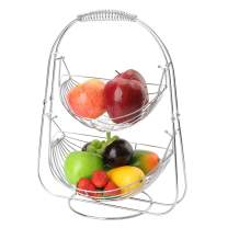 LOMOFI 2 Tier Fruit Baskets Stand Stainless Steel Hammock Fruit Bowl Metal Basket Rack Display Stand Fruit, Vegetables, Snacks, Household Items