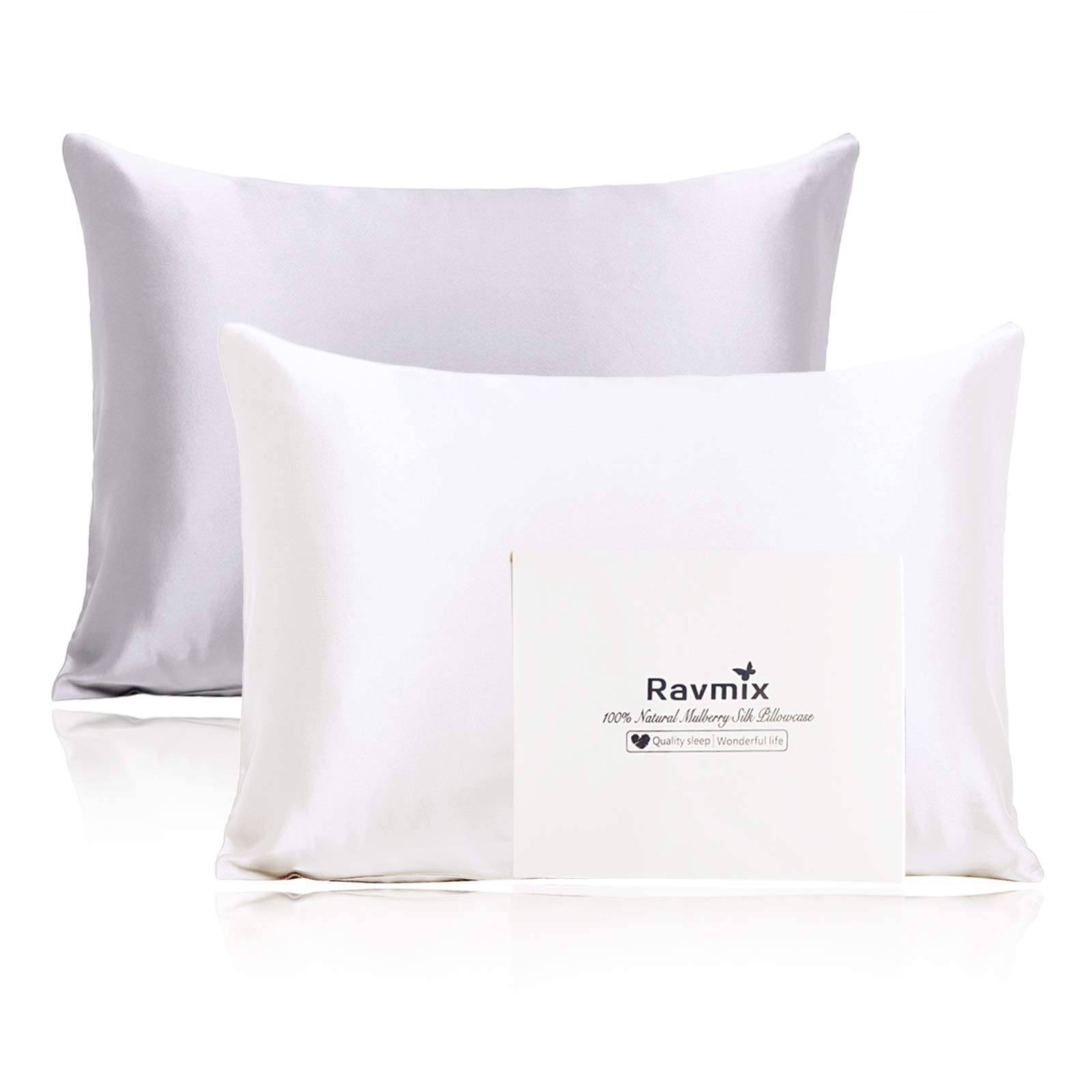 Ravmix 100% Mulberry Silk Pillowcase 2 Pack for Hair and Skin with Hidden Zipper, Both Side 21 Momme Silk (Standard 20''x26'', Silver+Ivory White)