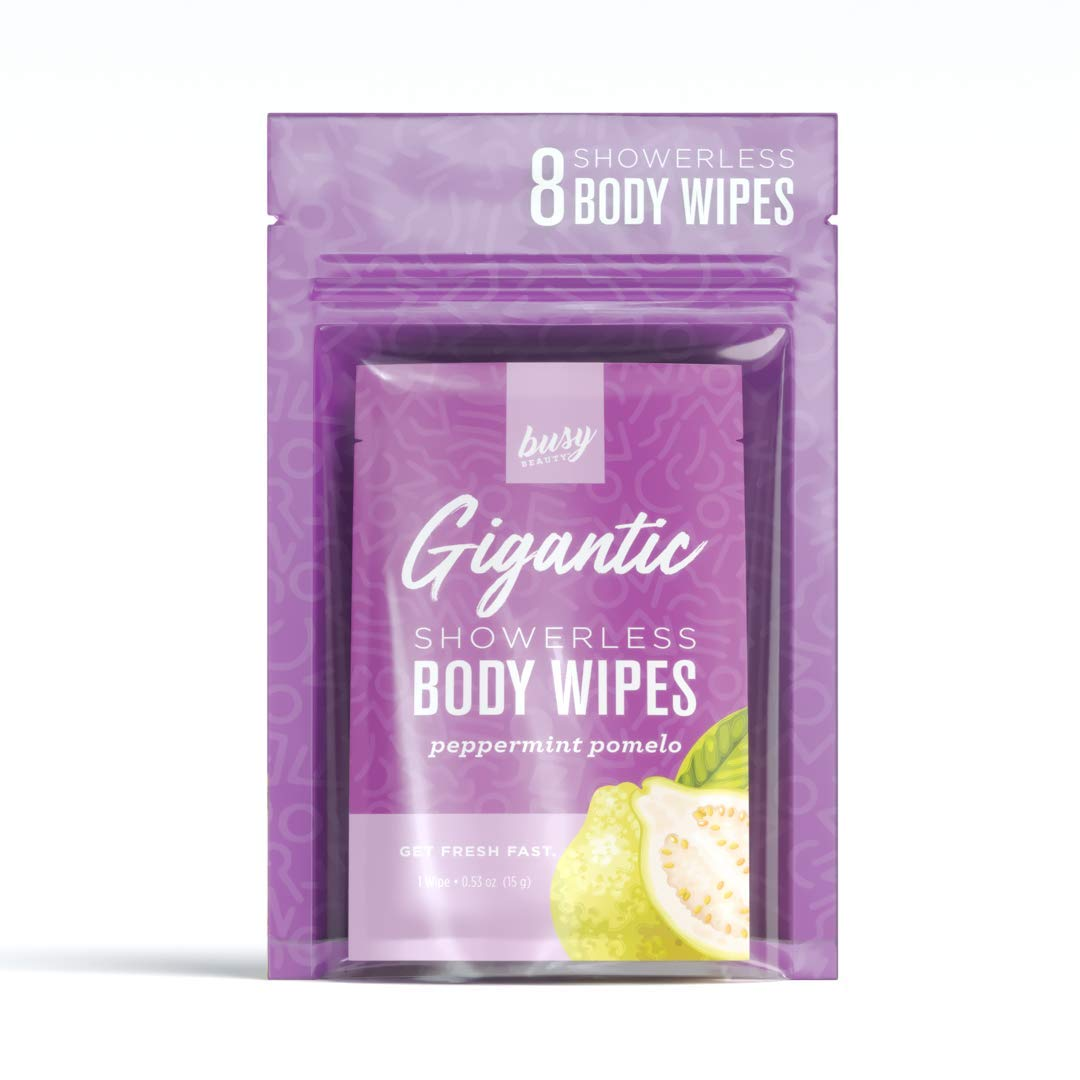 Busy Beauty | Gigantic Body Wipes | Showerless Cleaning | Plant-Based, Aluminum-Free, Natural | All Skin Types | Vegan | Cruelty-Free | Paraben-Free | 8 Pack (Peppermint Pomleo)