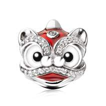 ATHENAIE 925 Sterling Silver Red Enamel Vintage Chinese New Year Lucky Cloud Lion Good Fortune Charm Beads for Bracelet